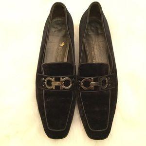 Salvatore Ferragamo Black Velvet Horsebit Shoes